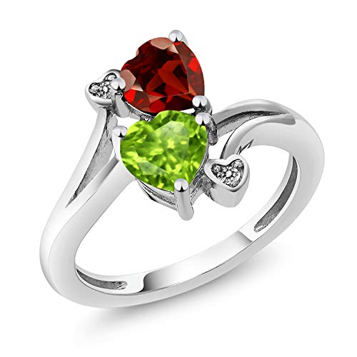 1.76 Ct Heart Shape Green Peridot Red Garnet 10K White Gold Diamond Ring (Size 6) -