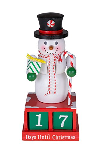 "Clever Creations 24 Plus Day Snowman Advent Calendar Countdown to Christmas | Painted Numbers | Black Top Hat with Candy Cane & Gift | 100% Wood Construction | Unique Holiday Decoration | 6"" Tall"