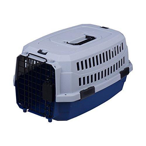 Transportín rígido para perros o gatos Nobleza, color azul marino y gris, largo 68cm