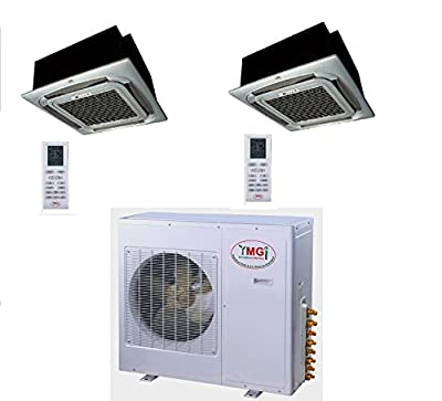 YMGI Dual Zone - 48000 BTU (24K +24K) Ceiling Mounted Mini Split Air Conditioner with Heat Pump for Office Shop, Restaurant cafe, Library
