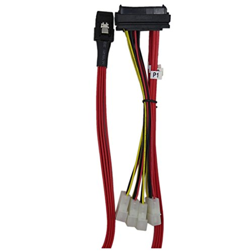 TOOGOO(R) Mini SAS 36P SFF8087 to 4 X SFF 8482 29P SAS with Power Red Cable 1M by TOOGOO(R) (Image #2)