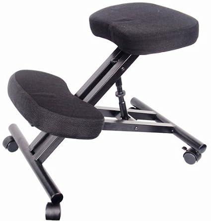 Spetedo - Silla ergonómica para ordenador, con reposarrodillas, ruedas, revestimiento de tela acolchada, altura ajustable