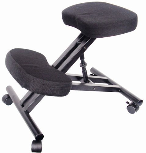 EazyGoods Ergonomic Kneeling Orthopaedic Posture Office Laptop Stool Chair Seat Without Back, Cushion Top/Metal Frame, Black, 47 x 63 x 64 cm