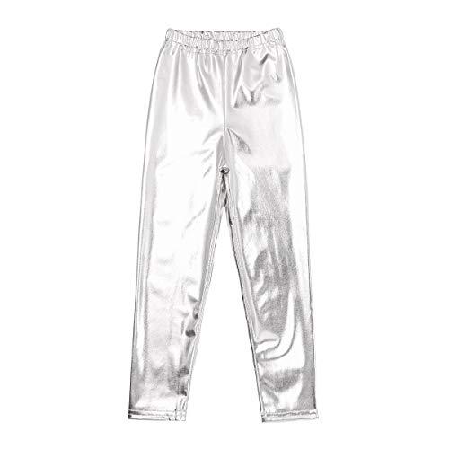 Alvivi Kids Girls Stretch Shiny Metallic Leggings Skinny Pants Footless Tights Dance Costumes Silver 5-6]()