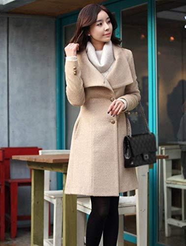 Bavero Giaccone Cappotto Autunno Slim Eleganti Fit Termico Solidi Grazioso Lana Fashion Outerwear Invernali Colori Calda Alta Lunga Cappotto Vita Manica Lunghi Aprikose Donna dHfPqAnFd