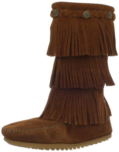 Minnetonka 3 Layer Fringe Boot (Toddler/Little Kid/Big Kid),Brown,2 M US Little Kid