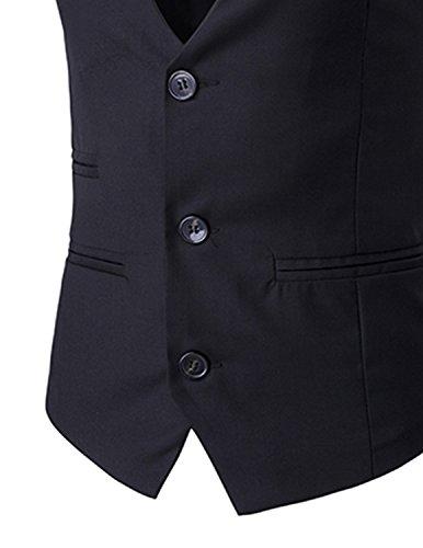 Leisure Business Noir Homme Fit S Manches Taille Mariage Sans xxl Slim Costume Gilet Veste BTqFrBw