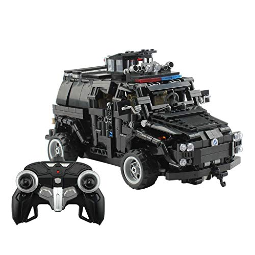 Yeefant 1:12 Four-Way Remote Control Car Special Police Armored Car 2.4G Remote Control Car DIY Assembled Building -