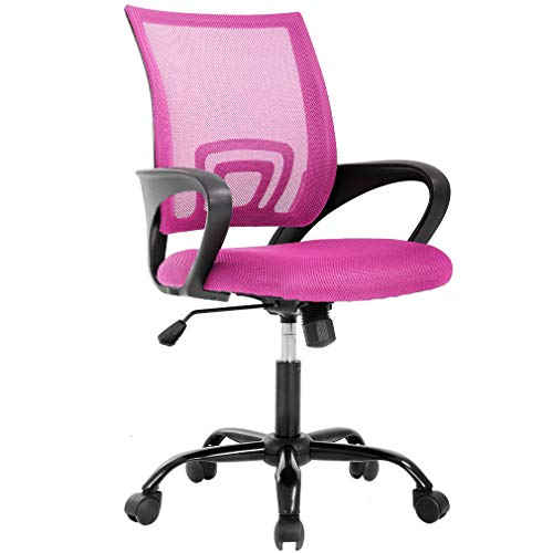 Ergonomic Office Chair Cheap Desk Chair Mesh Computer Chair Back Support Modern Executive Chair Task Rolling Swivel Chair for Women, Men(Pink)