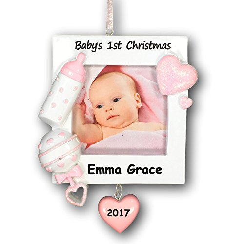 Personalized Baby Girl's First Christmas Glittered Christmas Ornament with Picture Frame with Name and Date - 3.75 - Personalized First Christmas Ornament Babys