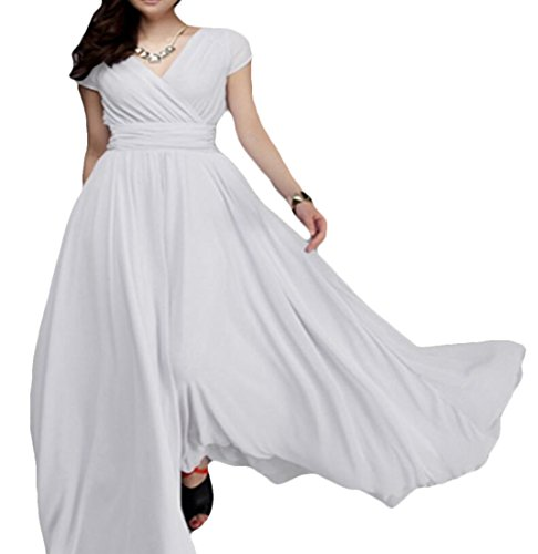 Maxi White Dress Loose Swing KLJR V Casual Chiffon Neck Women Solid Sleeve Short Evening OwnPZn1p6q