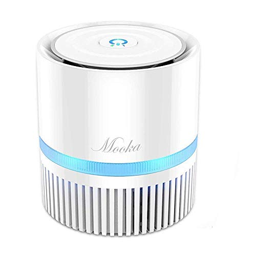 MOOKA Air Purifier, Air Cleaner with 3-in-1 True HEPA Filter for Home and Office, Odor Allergies Eliminator for Smoke, Dust, Pets, 3 Stage Filtration, Night Light, 3-Year Warranty