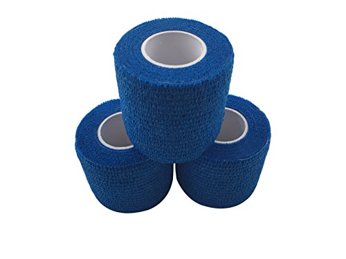 zechy Grip Tape - Hockey, Baseball, Lacrosse, Any Other Sports requiring a Solid Grip - 2 inch by 15 feet (Blue) (3 Pack)