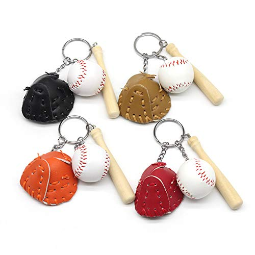 Astra Gourmet Baseball Glove and Bat Model Keychains Mini Novelty Handbag Car Lover Sport Keyring Party Favors Supplies Gifts for Sports Fans -4 Pack