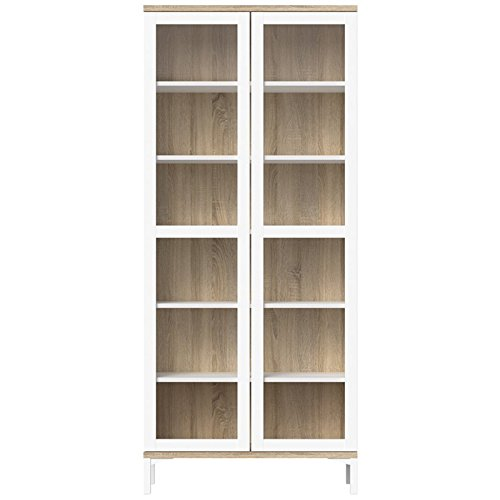 Tvilum 9217649ak Aberdeen 2 Door China Cabinet, White/Oak Structure (Large China Cabinet)