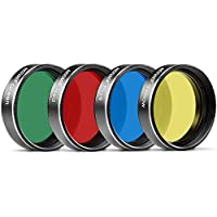 Neewer 4 Pieces Standard 2 inches Color Filter Set for Telescope Eyepiece: Red Yellow Green Blue, Perfect for Lunar and Planetary Observation