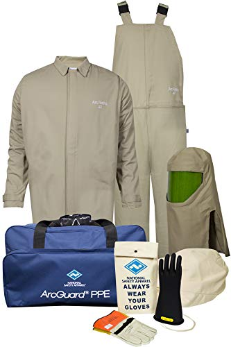 National Safety Apparel KIT4SC40ECMD11 ArcGuard Economy Arc Flash Kit with Short Coat and Bib Overall, 40 Calorie, Medium/Glove Size 11, Khaki