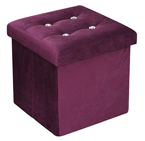 Home Basics FS01665 Storage Ottoman with Stones, Purple