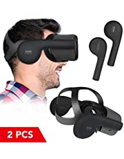 KIWI design Silicone Ear Muffs for Oculus Quest VR Headset, A Enhancing Sound Solution for Oculus Quest Accessories(Black, 1 Pair)