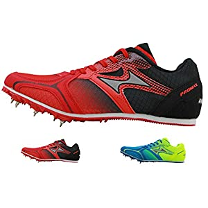 HEALTH Track Spike Running Sprint Shoes Track and Field Shoes Mesh Breathable Lightweight Professional Athletic Shoes 5599 Blue & Red for Kids, Boys, Girls,Womens, Mens