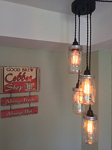 Mason Jar Chandelier Swag Light - NO Hard Wiring!! Just hang it up and plug it in!! (Black Cord) (Mason Jar Chandelier)
