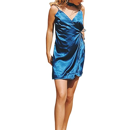 Forart Womens Rayon Silk Strap Sling Dress Sleeveless Wrap Beach Holiday Style Bow Dress