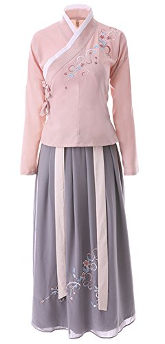 Plaid&Plain Women's Hanfu Embroidered Chinese Traditional Dress National Wind Dress Pink L - Chinese Fancy Dress Ideas
