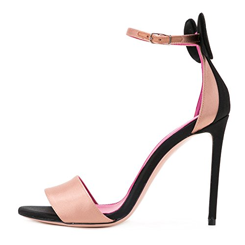Women's Fashion Open Toe Ankle Strap Pink Insole Stiletto High Heel Sandals for Pary Dress Champagne bBN853fWS