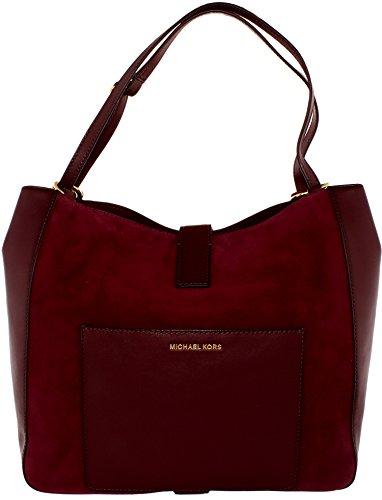 Plum Suede Leather (MICHAEL MICHAEL KORS Quincy Large Suede Shoulder Bag)