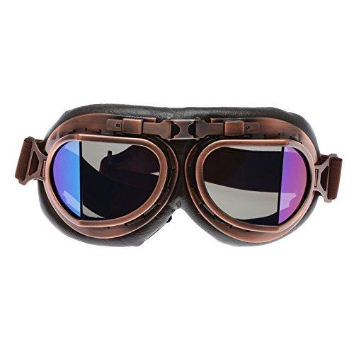 Helmet Steampunk Vintage Goggles Sunglasses Eyewear for Outdoor Sports Motocross Racer - Smoke Len