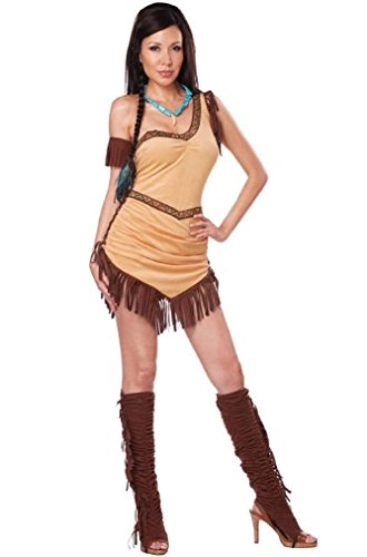 [Fancy Native American Beauty Sexy Indian Pocahontas Adult Costume] (Pocahontas Wig)