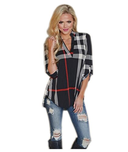 Mansy Women's Casual 2/3 Sleeve V-Neck Plaid shirts Pullover Top Black X-Large