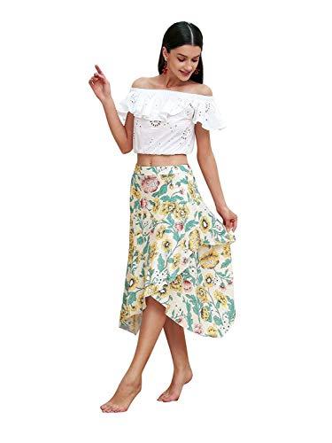 b1cb2740063696 Print Light Donna Midi Elastica Alta Floral Spiaggia Gonna Vita A Con  Forsafe Da Estiva Yellow nTq6UYP5