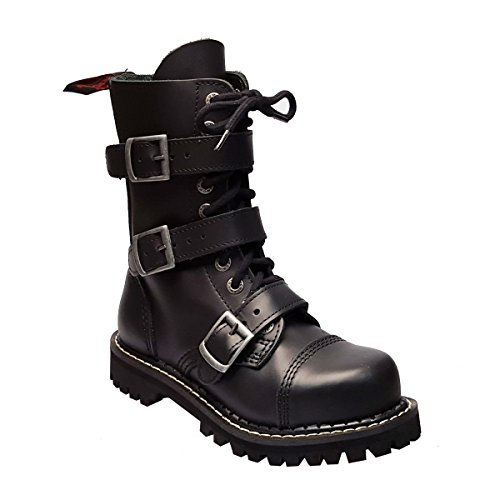 Color Stivali in fibbie 10 3 Nero di Militari punk punta Buchi Itch Angry Anfibi ferro Pelle axY8wtWfqZ