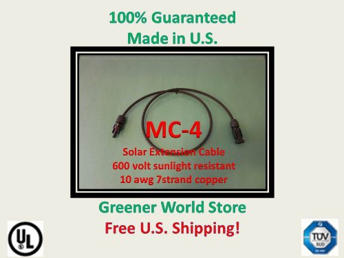 25 Foot Mc4 Solar Cable for Photovoltaic Solar Panels with Mc4 Solar Connector Cable 25 Feet Long and Mc4 Connectors At Each End. Review
