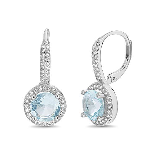 MIA SARINE Round Simulated Aquamarine and Cubic Zirconia Bridal Leverback Earring in Rhodium Plated 925 Sterling Silver