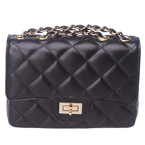 ToToDog Classic Metal Chain Quilted Purse for Women Crossbody Shoulder Bag PU Leather Handbag (Black)