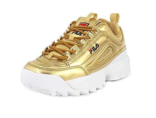 Gold Sneakers Shoes - Fila Women's Disruptor Ii Sneaker, Gold White, Size 7.0