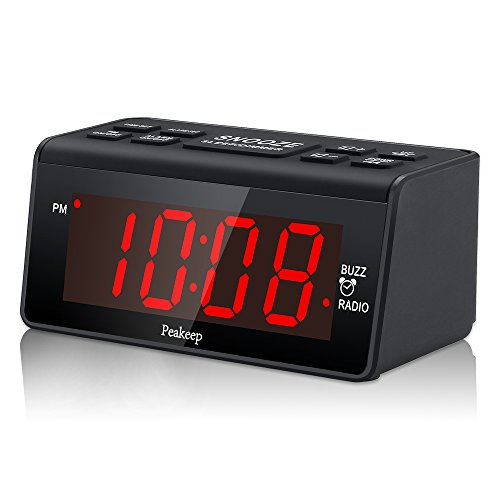 Office Alarm (Peakeep Little Digital Alarm Clock FM Radio with 1.2 Inch Display and 2 Dimmer, Battery Memorization, Snooze and Sleep Timer, Easy Set)