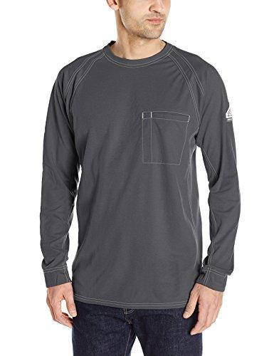 Bulwark Men's Iq Series Long Sleeve Comfort Knit T-Shirt, Charcoal, X-Large