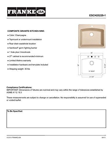 Franke Consumer Products ESCH25229-1 25 in. Dual Mount Composite Granite...