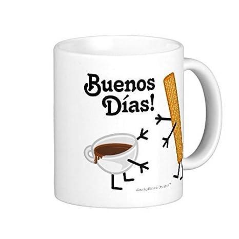 """18 """"x 18"""" churro Chocolate Buenos Dias Classic blanco taza de café manta"""