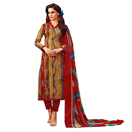Ready Made Ethnic Beautiful Printed Cotton Salwar Kameez Suit – 0X Plus, Multicolor