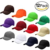 Falari Wholesale 12-Pack Baseball Cap Adjustable Size Velcro Closed Plain Blank Solid Color (Assorted Color Group 2)