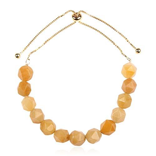 Natural Stone Stretch Prayer Bolo Bracelet - Semi Precious Healing Gemstone Chakra Beaded Friendship Slide Adjustable Cuff Bangle Faceted Jewel (Faceted Jewel Bolo Bracelet - Yellow Jade) - Faceted Gem Setting Outfit