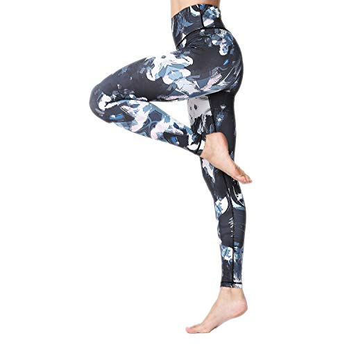 MTSCE Yoga Pants High Waisted Printed Workout Leggings for Women(Flower L/US 4-6)