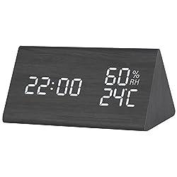 Wooden Digital Alarm Clock, LOREEN Wooden Smart alarm clock,Displays Time Date Temperature and Humidity(Triangle)