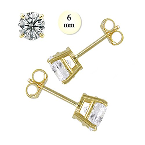(Noureda 14K Yellow Gold Stud Earring Aprx 1.5 Carat Total Weight, 6mm Each Round Simulated Diamond Earring. Set on Prong Setting & Friction Style Post)