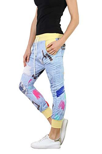 si moda Pantalón - Tiro Caído - para Mujer Amarillo