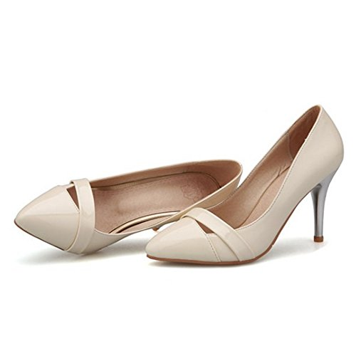 LongFengMa Women's Sexy PU Pointed Toe Stiletto High Heel Shoes Patent Pumps apricot H1eUUj3ai